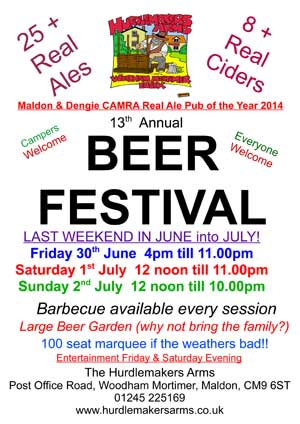 Beer Festival 30th June to 2nd July at The Hurdlemakers Arms